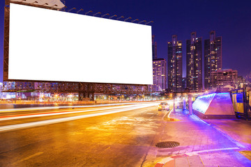 blank billboard on light trails, street, city and urban in the night use for advertisement