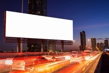 White Blank billboard with traffic jam in the night