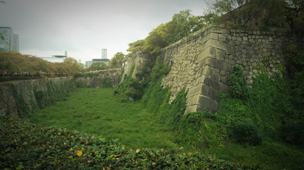 Empty moat filled with plants in Osaka