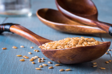 A spoonful of gold flaxseeds