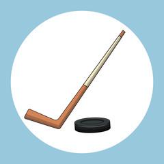 hockey puck stick symbol vector illustration eps 10