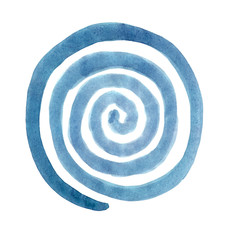 Spiral in a circle drawn by the brush painted turquoise paint. Radial rotation snail. Circular coil ornament.