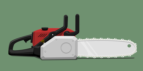 Isolated chainsaw on green background