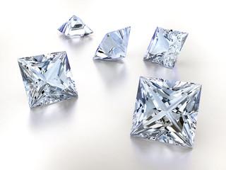 Princess cut diamonds isolated on white background, 3d illustration.