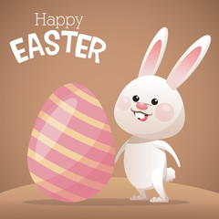 happy easter card bunny big egg vector illustration eps 10