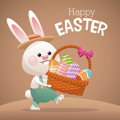 happy easter card bunny carrying basket egg vector illustration eps 10