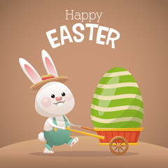 happy easter card bunny carrying egg vector illustration eps 10