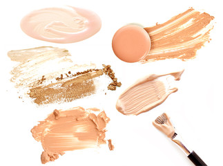 Collage of cosmetics foundation on white background. Beauty and makeup concept.