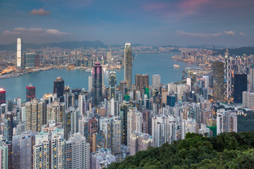 Hong Kong cityscape aerial view over Victorial bay with blue sky background
