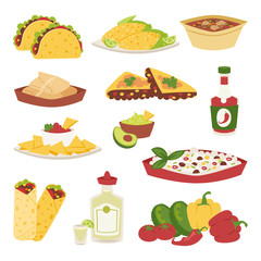Mexican traditional food with meat avocado tequila corn isolated and spicy pepper salsa lunch sauce cuisine dinner cartoon style vector illustration.