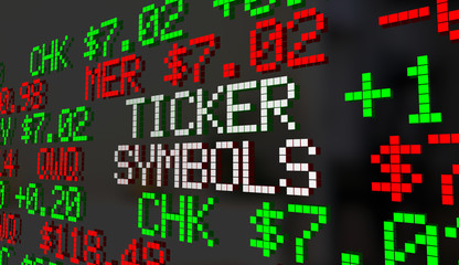 Ticker Symbols Companies Prices Stock Market Listings 3d Illustration