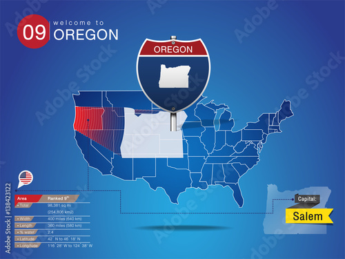 Capital Of Oregon Map.Sign Of State American In Road Style On Map Usa Oregon State With