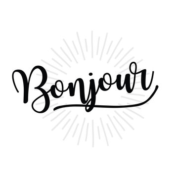 bonjour lettering overlay set. Calligraphy photo graphic design element. Sweet cute inspiration typography.