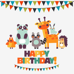 Happy birthday - lovely vector card with funny animals in bright colors