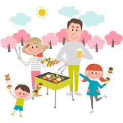 family enjoying barbecue outdoors