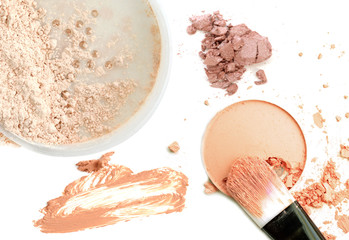 Collage of cosmetics foundation powder on white background. Beauty and makeup concept.