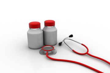 Stethoscope with medicine bottle