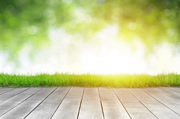 Wooden plank and bright spring green leave bokeh background with sunlight