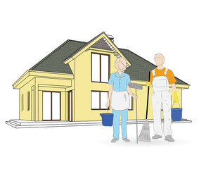 people who clean the house on the background. vector illustration.