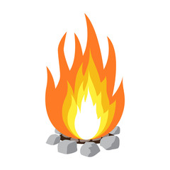 campfire isolated illustration on white background
