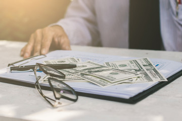 Close-up, Business financial working.,Businessman with a money