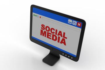 Computer monitor showing social media concept