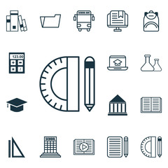 Set Of 16 Education Icons. Includes Distance Learning, Chemical, Opened Book And Other Symbols. Beautiful Design Elements.