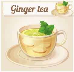 Herbal tea with ginger root and mint illustration. Cartoon vector icon
