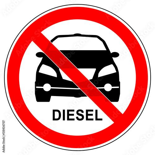 srr177 SignRoundRed - german - Verbotszeichen: Auto / Diesel ...