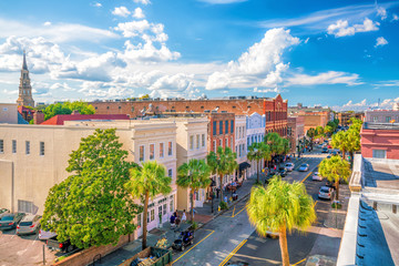 Historical downtown area of  Charleston Wall mural