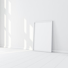 White Frame with Poster Mockup standing on the floor in empty room. 3d rendering