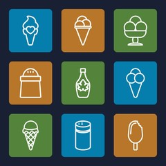 Set of 9 flavor outline icons