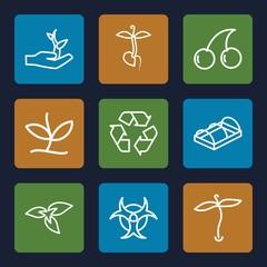 Set of 9 bio outline icons