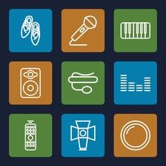 Set of 9 studio outline icons