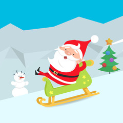 Cartoon Santa Claus Riding a Sleigh. Winter. Snow