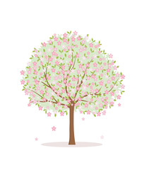 Blooming tree on white background. Flat style, vector illustration.