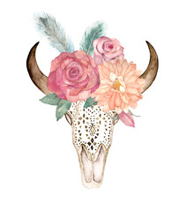 Watercolor isolated bull's head with flowers and feathers on white background. Boho style. Ornamental skull on whitebackground for wrapping, wallpaper, t-shirts, textile, posters, cards, prints