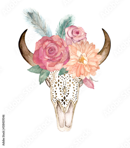Watercolor Isolated Bulls Head With Flowers And Feathers On White Background Boho Style Ornamental