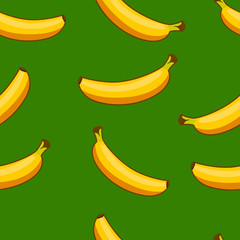 Seamless pattern of ripe bananas.
