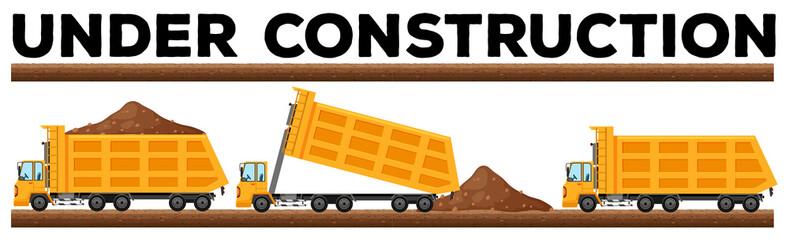 Underconstruction scene with three dump trucks