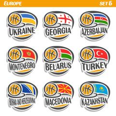 Vector set Flags of European Countries with Basketball Ball: Logo national basketball Teams, Sport group countries of Europe, icons european flag fiba team with orange ball, logo sport flags of europe