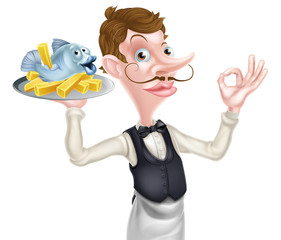 Cartoon Butler Holding Fish and Chips