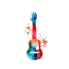 Colorful acoustic guitar with hand and music notes. Music instrument background vector illustration. Design for poster, brochure, invitation, banner, flyer, music concert and music festival