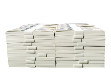 Stacks of one million US dollars in hundred dollar banknotes