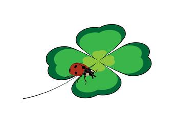 Leaf with a ladybug