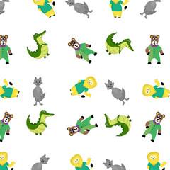 Zoo pattern with cartoon animal