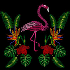 Embroidery stitches with flamingo bird, tropic hibiscus flowers. Vector fashion ornament on black background for textile, fabric traditional folk decoration.