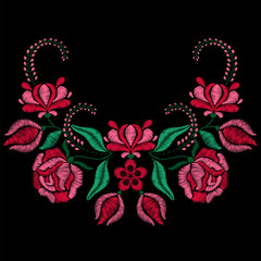 Embroidery with roses, spring flowers. Necklace for fabric, textile floral print. Fashion design for girl wear decoration. Tradition ornamental pattern. Vector illustration on black background.