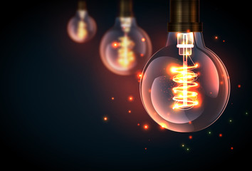 Beautiful retro light lamp decor glowing, vector illustration.
