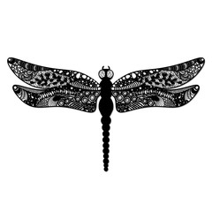 Dragonfly. laser cut Black dragonfly on white background isolated. vector illustration.